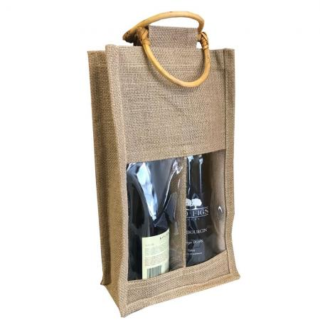 SSB0038 Stock Jute 2 Bottle Wine Bag