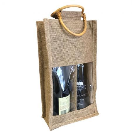 SSB0038 Stock Jute 2 Bottle Wine Bag